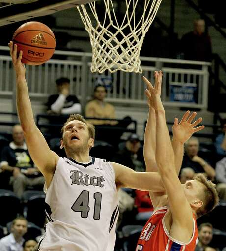 Rice senior forward Seth Gearhart (41) has thrived in the new offense installed by first-year Owls coach Mike Rhoades, averaging 15 points per game - 10 more than his career average before this season. Photo: Thomas B. Shea, Freelance / © 2014 Thomas B. Shea