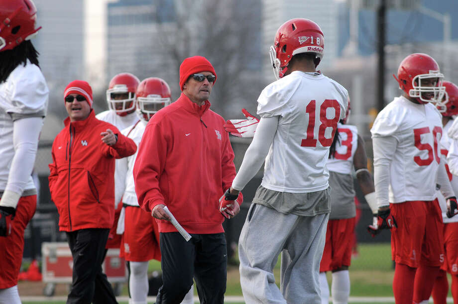 """Houston interim head coach David Gibbs, left, admits he's """"scared to death"""" about facing Pitt's high-powered offense in today's Armed Forces Bowl. Photo: Jerry Baker, Freelance"""