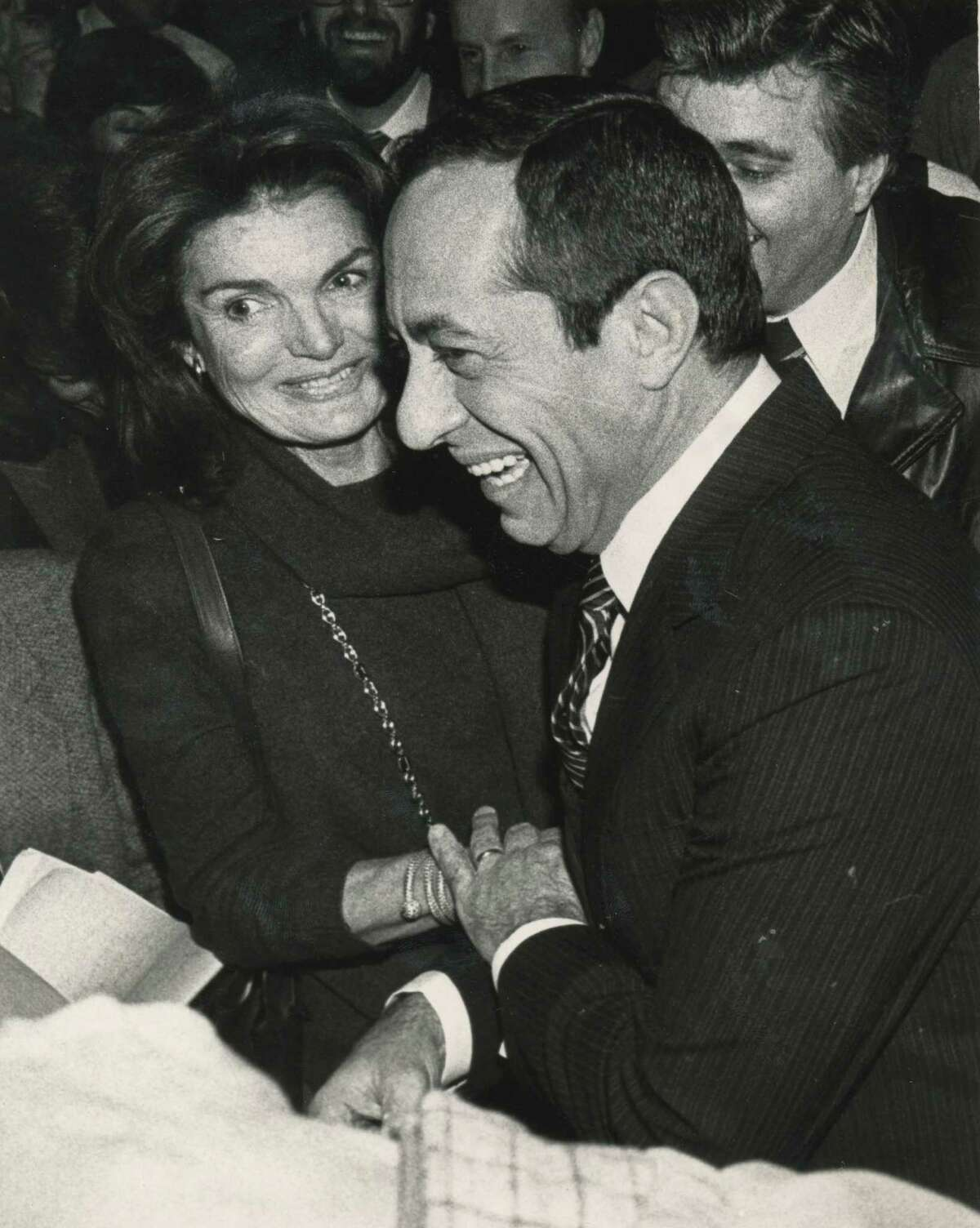 Gov. Mario Cuomo greets Jacqueline Onassis at the Capitol Feb. 8, 1984, in Albany, N.Y. (Paul Niskern Sr./Times Union archive)
