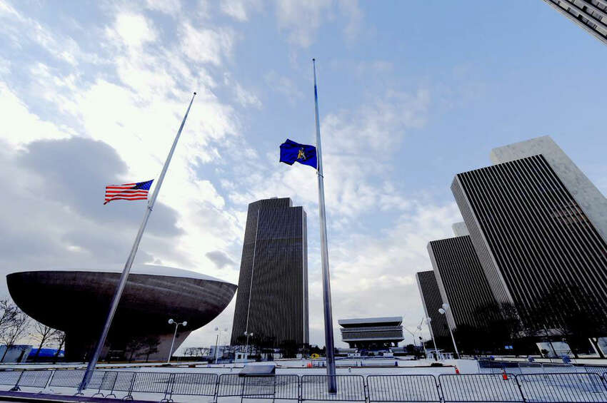 Flags at half staff on the Empire State Plaza in memory of former Governor Mario Cuomo on January 2, 2015.