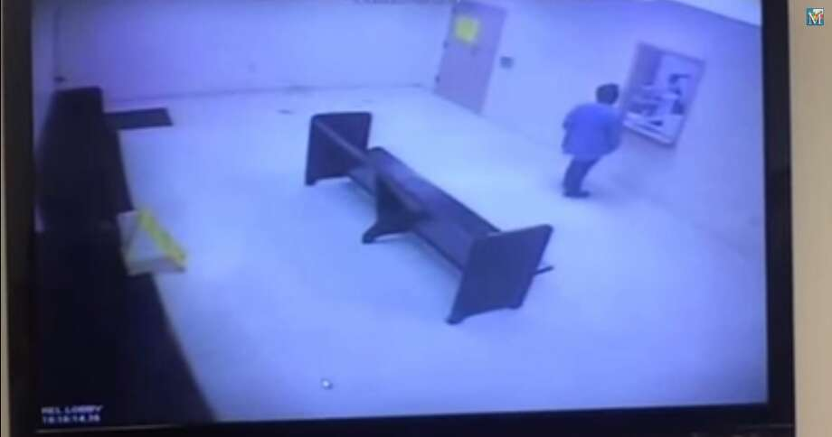 Deputies for the Hidalgo County Sheriff's Office used a stun gun on a 53-year-old woman who walked into the Hidalgo County Jail brandishing a BB gun and asking them to kill her.  Surveillance video obtained by the McAllen Monitor and posted to YouTube shows Marisela Martinez Zamora walking into the jail's public area, throwing $93 she allegedly stole from a nearby bail bonds business and attempting to flip over a bench. Photo: Fechter, Joshua I, McAllen Monitor/Hidalgo County Jail