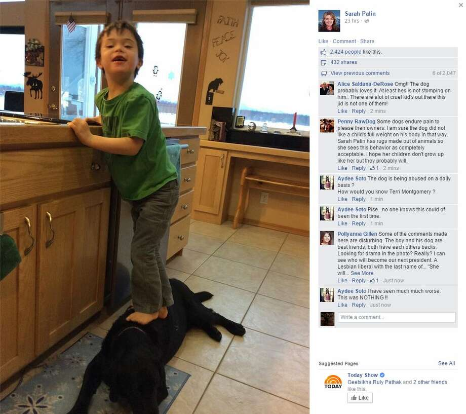 Sarah Palin, former Republican vice presidential candidate, has drawn outrage over a New Year's Day Facebook post showing her son Trig standing on the family dog. Photo: Fechter, Joshua I, Sarah Palin/Facebook