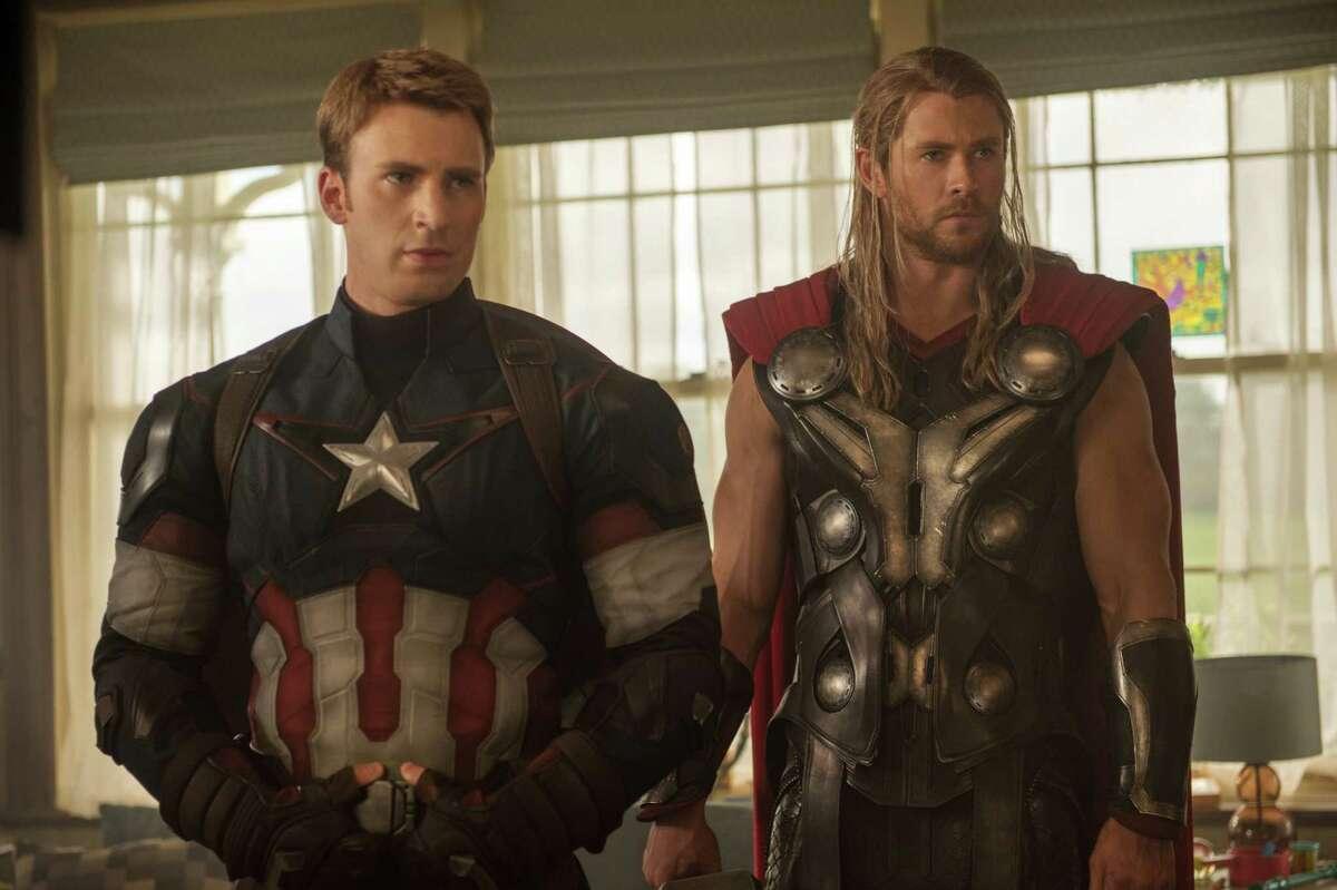 Marvel's Avengers: Age Of Ultron Captain America/Steve Rogers (Chris Evans) and Thor (Chris Hemsworth) Ph: Jay Maidment ©Marvel 2015