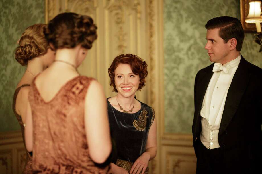 The progressive views of Miss Sarah Bunting (Daisy Lewis) fascinate Tom Branson (Allen Leech, right) while they upset Lord Grantham in Season 5 of 'Downton Abbey' on PBS. January, 2015 Photo: Nick Briggs/Masterpiece / PBS / Carnival Films