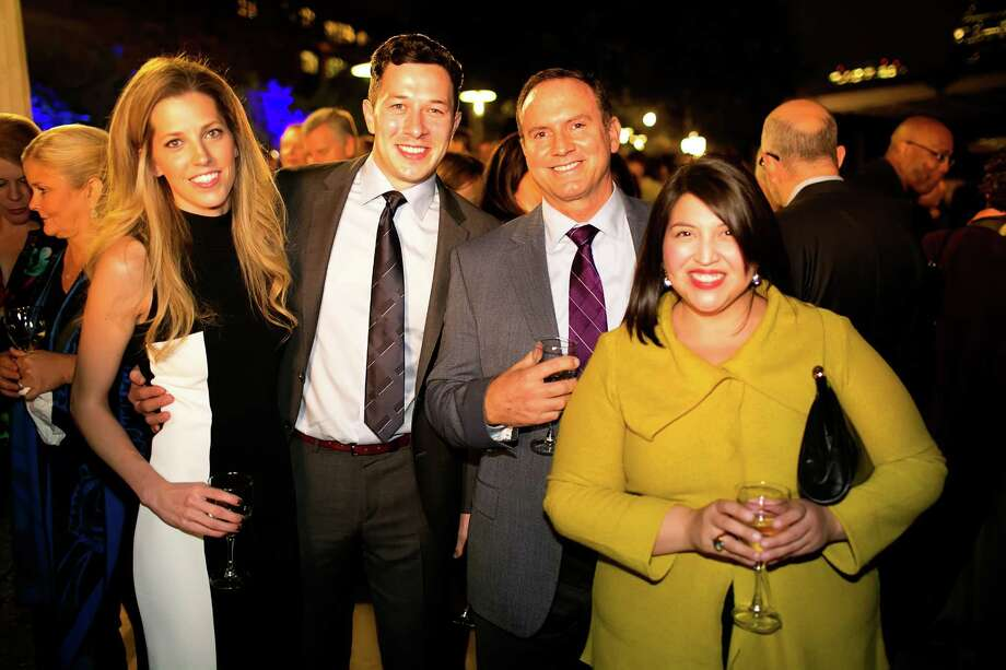 At the Buffalo Bayou Ball are Beth and Michael Silva, sharing the evening with his John Daugherty, Realtors colleague Richard Ray and sales assistant Amanda Garcia Photo: Katya Horner