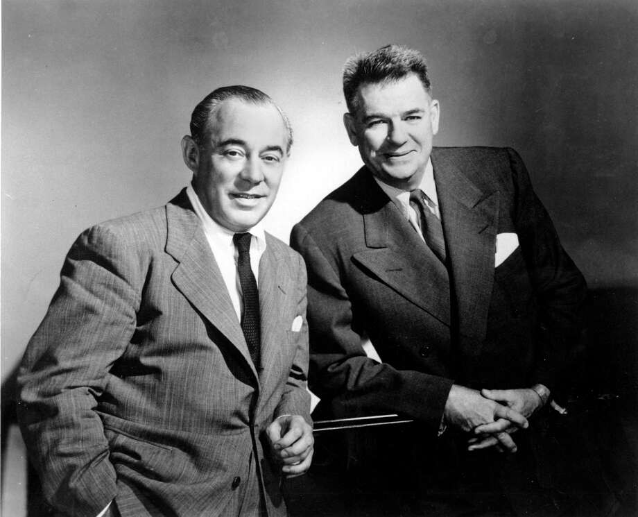 Richard Rodgers (left) and Oscar Hammerstein collaborated on  FILE- In this Dec. 2, 1956, file photo, Composer Richard Rodgers, left, and lyricist Oscar Hammerstein II, pose for a photo. The location of the photograph is not known. Highland Farm in Doylestown Township, Pa., is where Oscar Hammerstein co-wrote several blockbuster Broadway shows at his farm in suburban Philadelphia, including Oklahoma! and The Sound of Music. (AP Photo/File) Photo: Associated Press / ap
