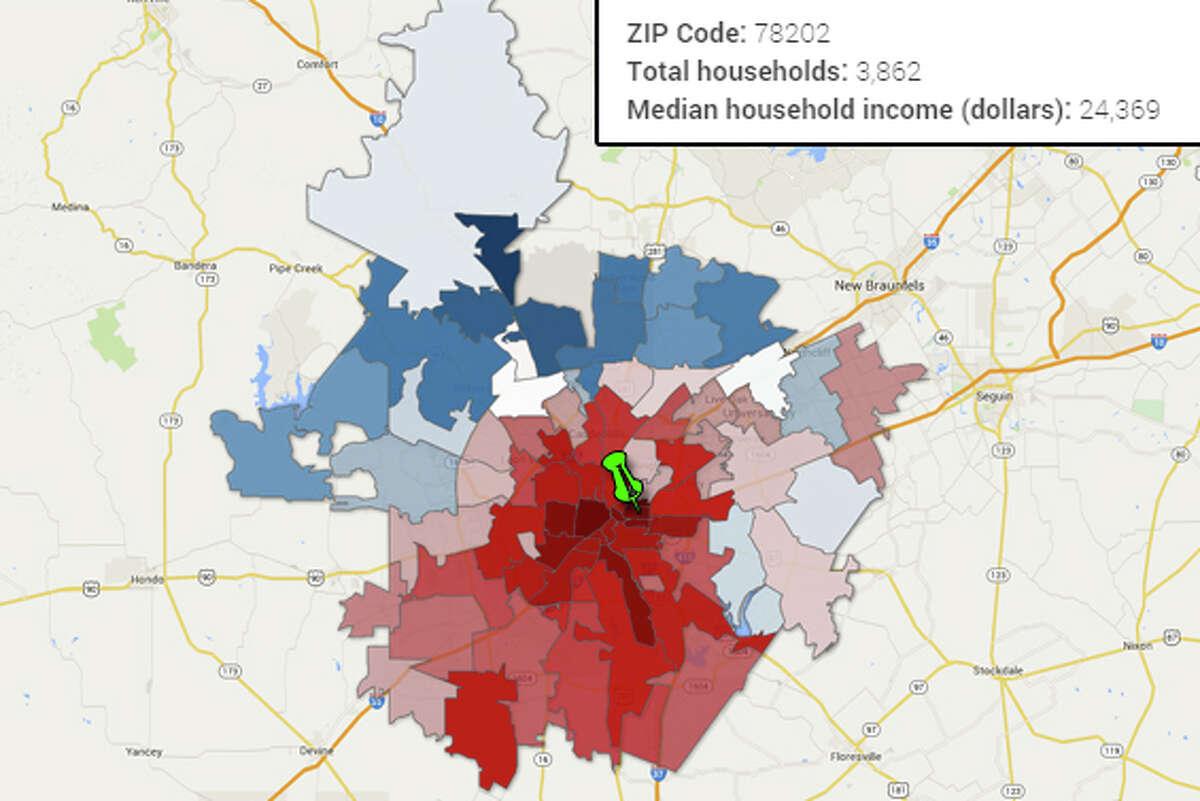 ZIP Code: 78202 Total households: 3,862 Median household income (dollars): 24,369 Source:U.S. Census Bureau