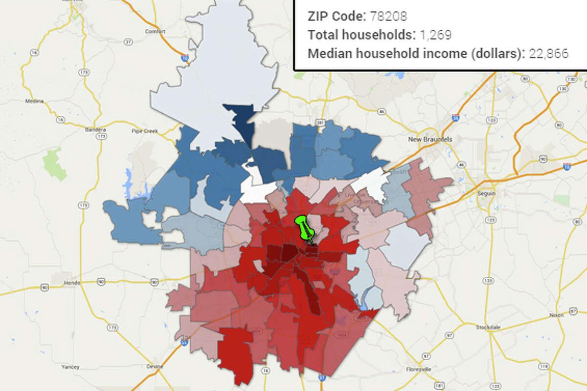 ZIP Code: 78208 Total households: 1,269 Median household income (dollars): 22,866 Source:U.S. Census Bureau