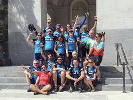 Team Bike East Bay, celebrating the finish of last year's California Climate Ride, above, is signing up riders for this May's event.