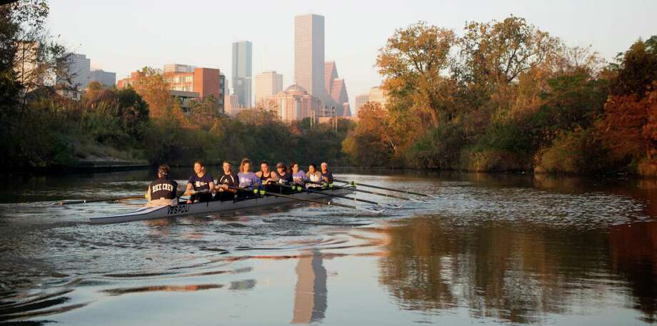 Rice University's women's rowing team practices on Buffalo Bayou. Photo: Cody Duty, Staff / © 2014 Houston Chronicle