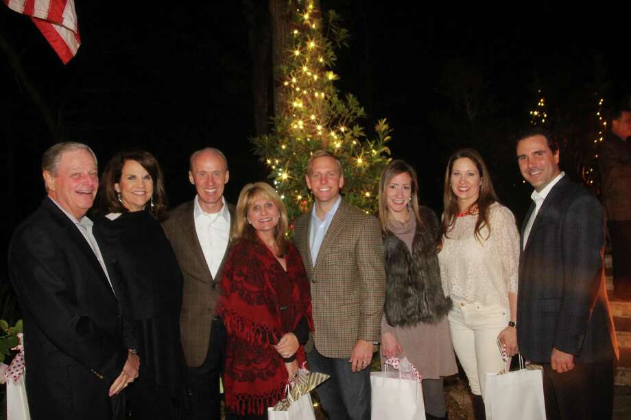 Among the guests at the CASA Christmas Home Tour sponsor party were supporters, from left, Dick and Patt Hogan, Mike and Twana McGrath, Rodney and Tiffany Walker, and sponsor party hosts Misty and Jay Bennett. Photo: Brenda Perry / ONLINE_YES
