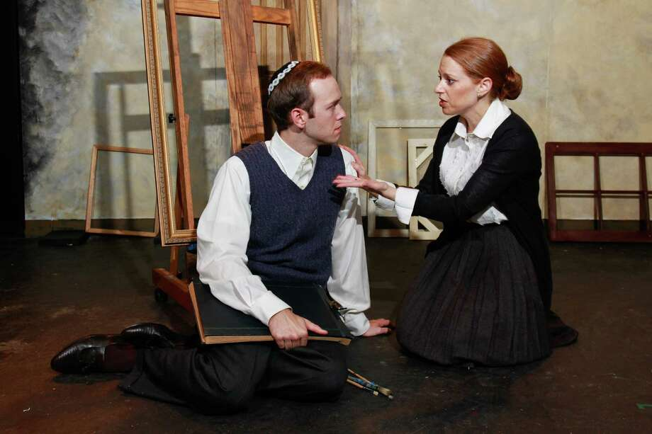 """Adam Gibbs as Asher Lev, and Kara Greenburg as Rivkeh Lev, in this scene from Theater LaB's production of """"My Name is Asher Lev.""""  (For the Chronicle/Gary Fountain, December 22, 2014) Photo: Gary Fountain, Freelance / Copyright 2014 by Gary Fountain"""