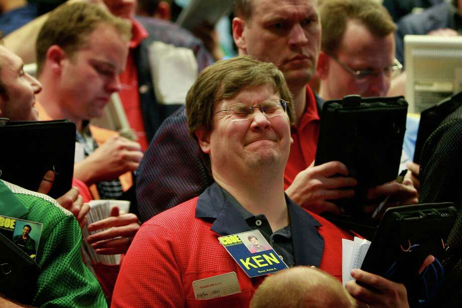 A trader reacts in the S&P 500 options pit at the Chicago Board of Options Exchange in early March 2009, when stocks had just about bottomed out. Photo: Scott Olson / Getty Images / Getty Images North America