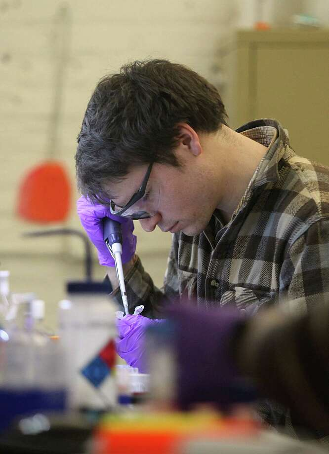 Scientist Sean Hacking prepares emulsion at Cambrian Genomics in San Francisco on Dec. 11. Photo: Liz Hafalia / The Chronicle / ONLINE_YES