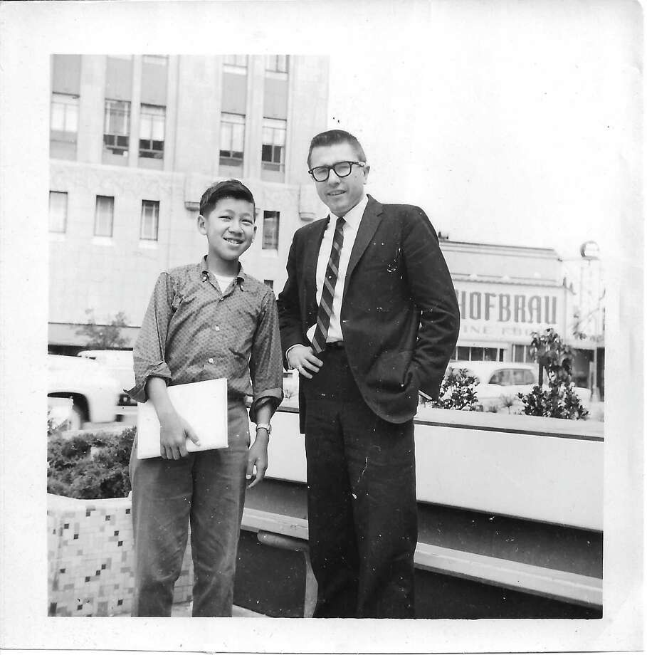 Young Ben Fong-Torres with then-morning DJ Gary Owens outside KEWB radio station, circa 1960.