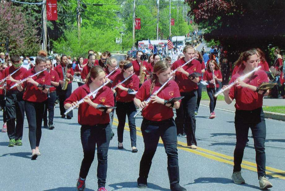 The Berne-Knox-Westerlo marching band performs during the annual Altamont Memorial Day parade this year. Daniel Frinta says the synchronous movement stood out. (Daniel Frinta)