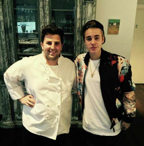 Celeb sighting 2014: Chef Anthony John Rinaldi welcomed singer Justin Bieber to the Golden View Firenze restaurant in Greenwich back in November. The pop superstar stopped in at the Railroad Avenue hot spot for a snack. Photo: Contributed Photo / Greenwich Time Contributed