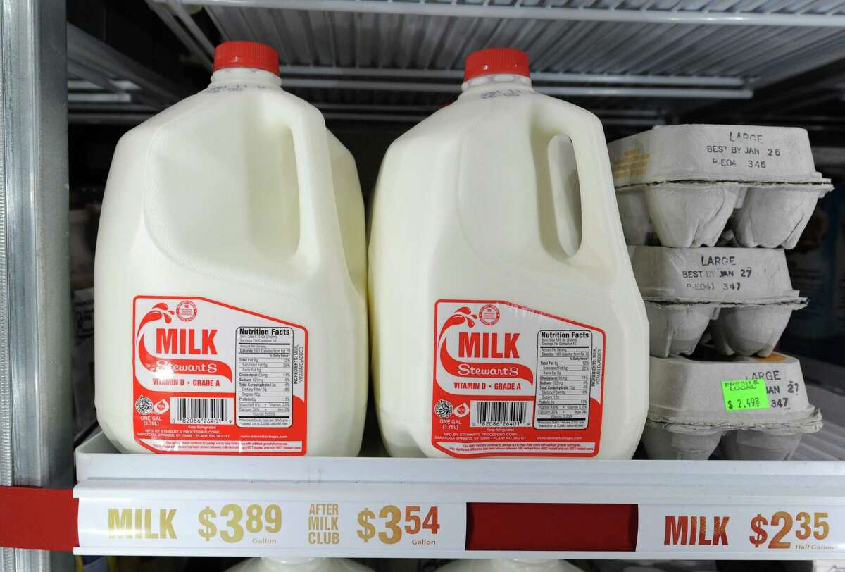 Milk is seen in a cooler at a Stewart's Shops on Friday, Jan. 2, 2015 in Latham, N.Y. Stewart's Shops will be lowering their milk prices 30 cents Monday. (Lori Van Buren / Times Union)
