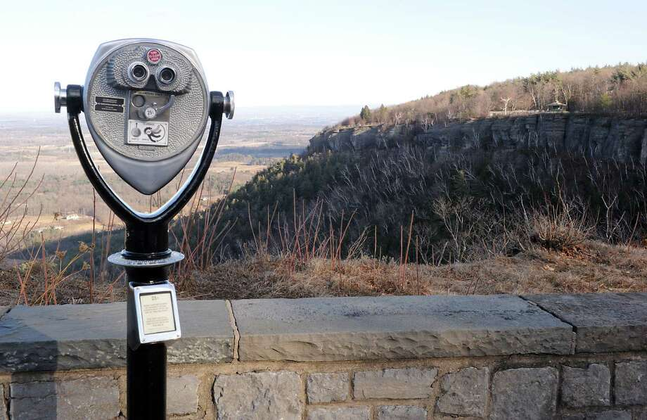 View at cliff edge overlook in Thacher Park on Tuesday, Dec. 30, 2014 in New Scotland, N.Y. There are proposed plans of development at Thacher Park including ropes course, mountain biking trail, and, eventually, rock climbing. (Lori Van Buren / Times Union) Photo: Lori Van Buren / 00030031A