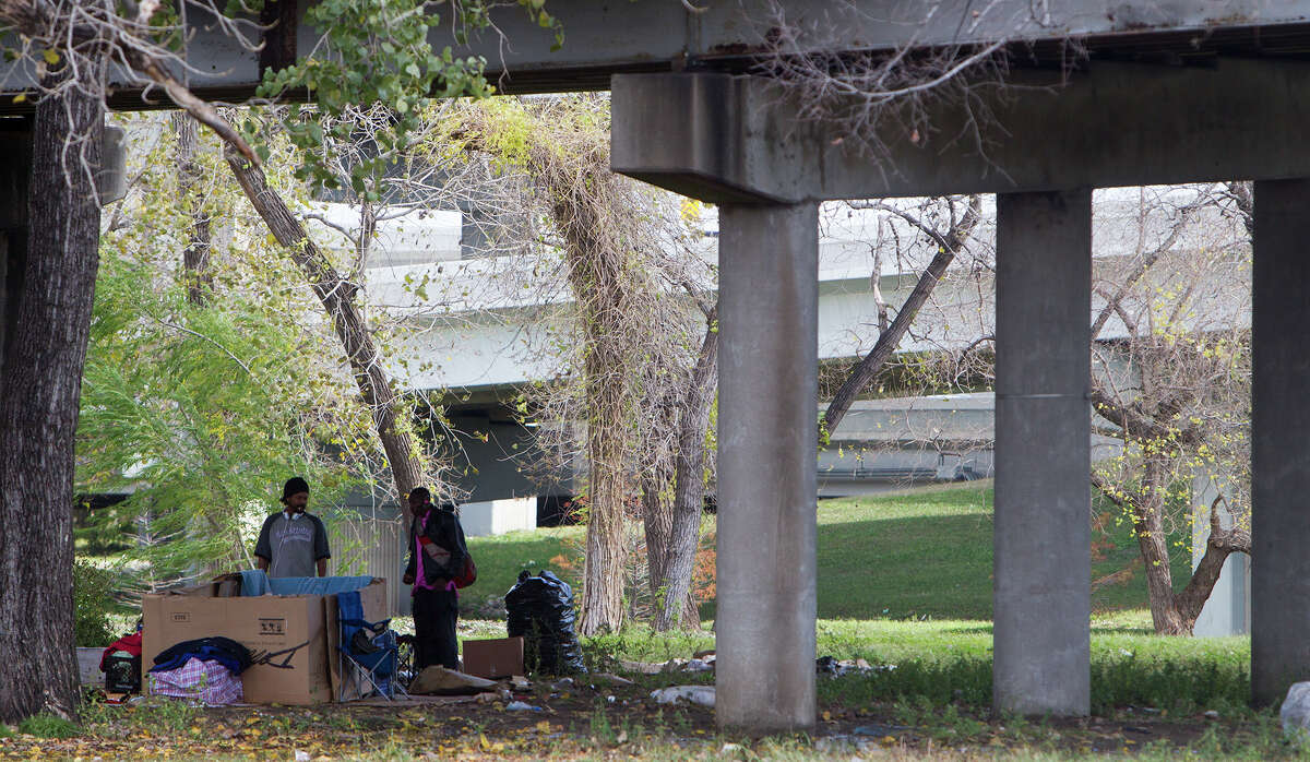 A homeless encampment is seen at James Bute Park, Monday, Dec. 22, 2014, in Houston.