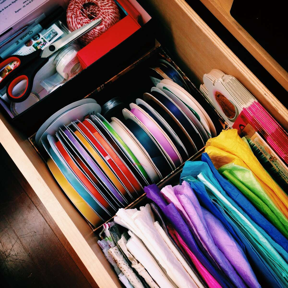 """Organizational progress is afoot! Kondo says, """"Store all items of the same type in the same place and don't scatter storage space."""""""