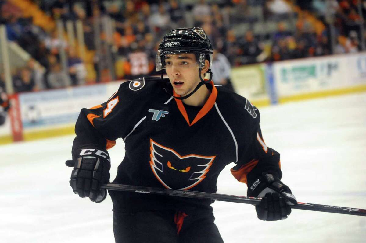 Shayne Gostisbehere makes his professional hockey debut with the Adirondack Phantoms on Friday, April 18, 2014, at the Glens Falls Civic Center in Glens Falls, N.Y. Gostisbehere played his first and only home game with the Phantoms against the Bridgeport Sound Tigers.(Cindy Schultz / Times Union)