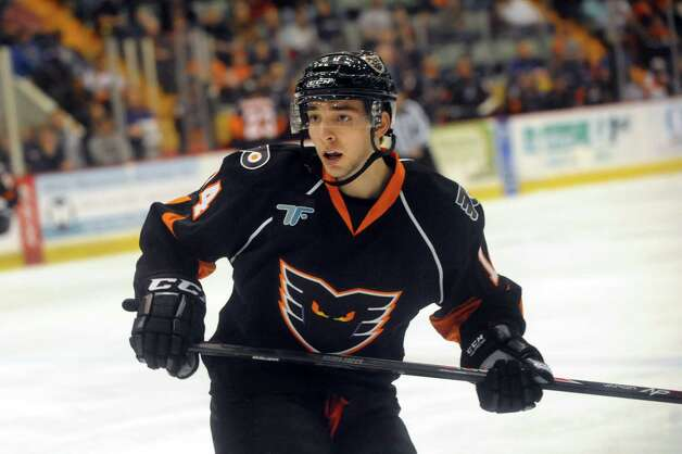 Shayne Gostisbehere makes his professional hockey debut with the Adirondack Phantoms on Friday, April 18, 2014, at the Glens Falls Civic Center in Glens Falls, N.Y. Gostisbehere played his first and only home game with the Phantoms against the Bridgeport Sound Tigers.(Cindy Schultz / Times Union) Photo: Cindy Schultz / 00026512A