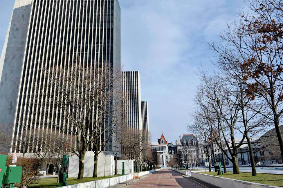 A view of the agency buildings on the Empire State Plaza and the Capitol on Wednesday, Dec. 31, 2014, in Albany, N.Y. (Paul Buckowski / Times Union)