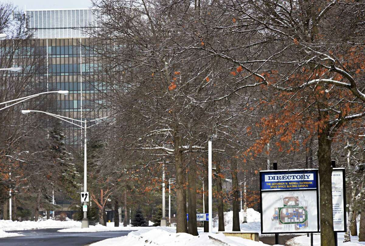 Western Avenue entrance to the Gov. Averill Harriman State Office Campus Thursday March 13, 2014, in Albany, NY. (John Carl D'Annibale / Times Union)