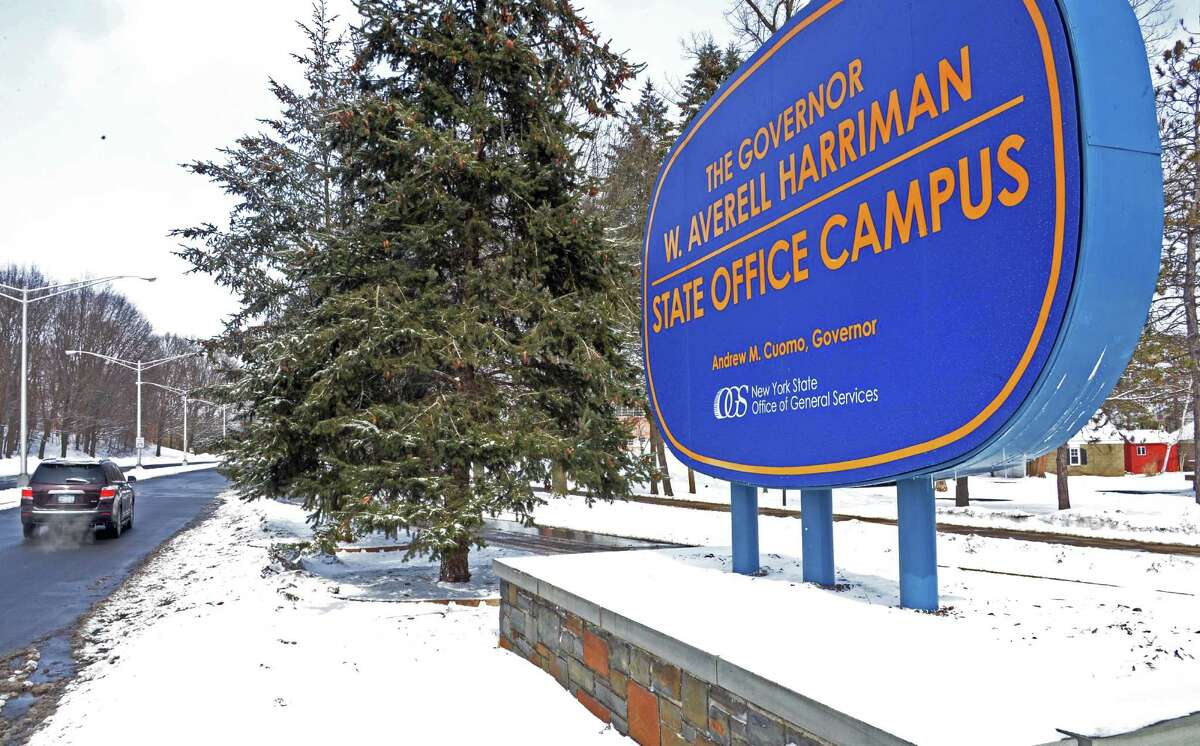 Sign at the Western Avenue entrance to the Gov. Averill Harriman State Office Campus Thursday March 13, 2014, in Albany, NY. (John Carl D'Annibale / Times Union)