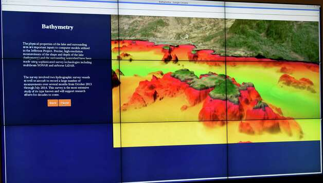 A 9 screen display shows a model of what the real-time information on new high-tech monitoring center that is connected to a supercomputer to analyze data about the state of Lake George Monday morning, Nov. 17, 2014, in Lake George, N.Y. This is part of the massive Jefferson Project involving RPI, IBM and the Fund for Lake George. (Skip Dickstein/Times Union) Photo: SKIP DICKSTEIN / 00029496A