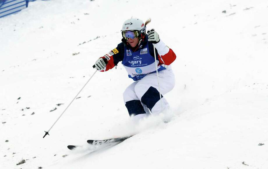 United States' Hannah Kearney competes during the women's World Cup freestyle moguls event in Calgary, Alberta, Saturday, Jan. 3, 2015. (AP Photo/The Canadian Press, Jeff McIntosh) ORG XMIT: JMC501 Photo: Jeff McIntosh / The Canadian Press