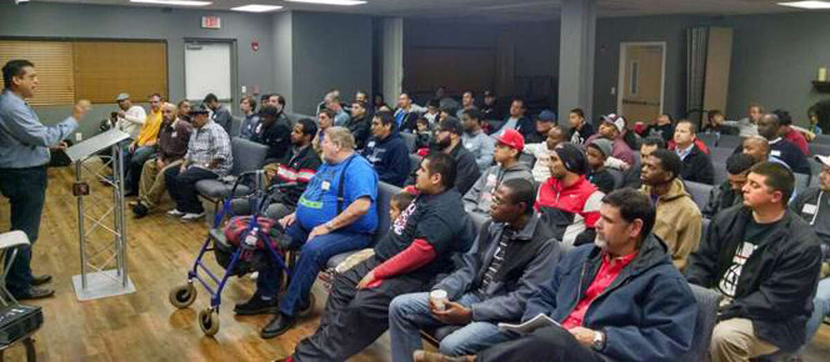 Some 80 men gather each Wednesday for Man Church, a program dedicated to building men and raising sons, at PowerHouse Church in Katy. Photo courtesy PowerHouse Church.
