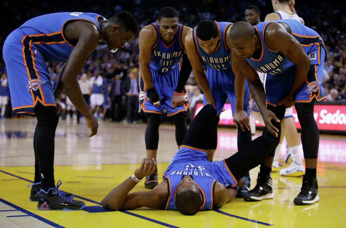 Kevin Durant is back in the Thunder's lineup ahead of Monday's game after missing 23 of the first 32 games with either a broken foot or a sprained ankle, the latter suffered Dec. 18 (above).