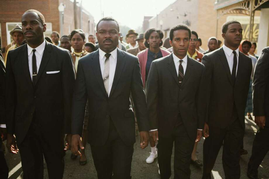 """This photo released by Paramount Pictures shows, from left, foreground: Colman Domingo as Ralph Abernathy, David Oyelowo as Dr. Martin Luther King, Jr., Andre Holland as Andrew Young, and Stephan James as John Lewis in a scene from the film, """"Selma,"""" from Paramount Pictures, Pathe, and Harpo Films. (AP Photo/Paramount Pictures, Atsushi Nishijima) ORG XMIT: CAET227 Photo: Atsushi Nishijima / Paramount Pictures"""