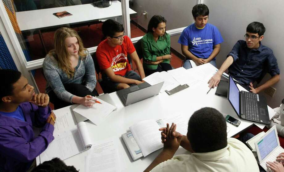 HISD students meet at the Houston Central Library, where they discussed problems ranging from low attendance to difficulty talking to the principal. They will serve as advisers to the school board. Photo: J. Patric Schneider, Freelance / © 2014 Houston Chronicle