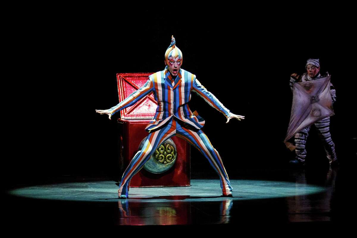 Members of Cirque Du Soleil perform on stage during the dress rehearsal for