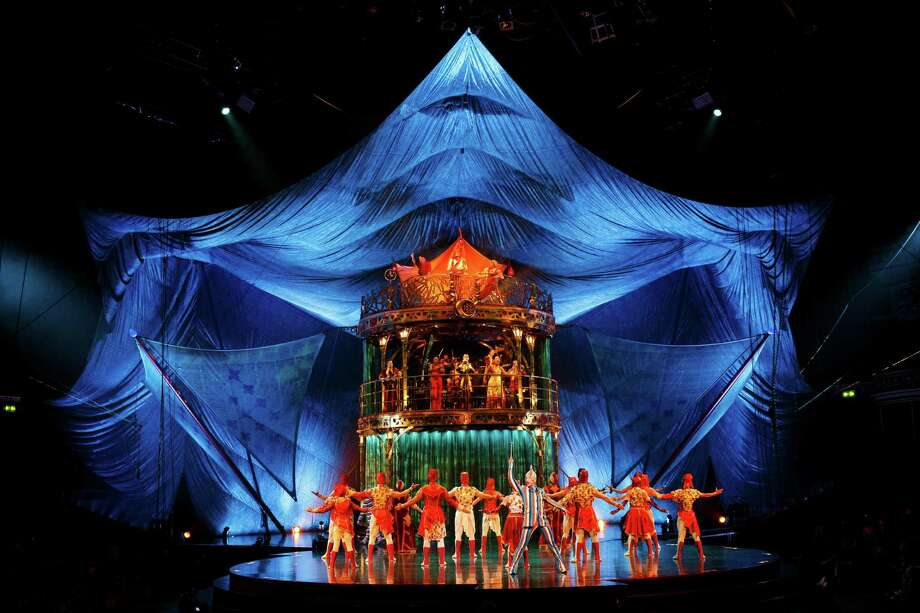 "Members of Cirque Du Soleil perform on stage during the dress rehearsal for ""Kooza"" by Cirque Du Soleil"" at Royal Albert Hall on January 4, 2015 in London, England. Photo: Tristan Fewings, Getty Images / 2015 Getty Images"