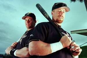 Craig Biggio, left, and Jeff Bagwell were inseparable as Astros teammates and played in the 2005 World Series. But Bagwell insists the 1998 incarnation of the Astros, with Randy Johnson added at the trade deadline, was his best team.