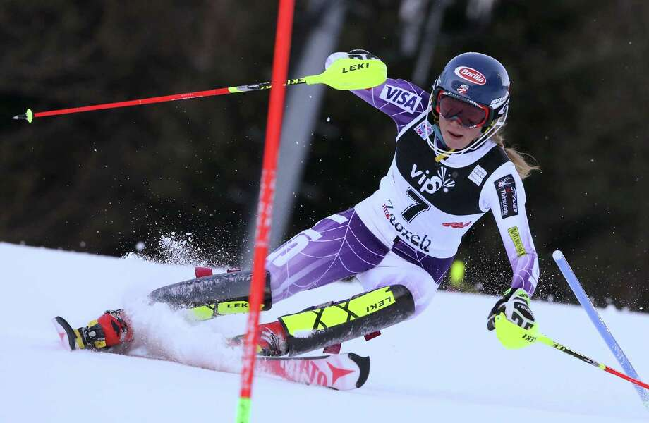 Mikaela Shiffrin of the United States flashes the form that enabled her to win Sunday's World Cup slalom event at Zagreb, Croatia, by 1.68 seconds - the largest winning margin in the 10-year history of the event. Photo: Giovanni Auletta, STR / AP
