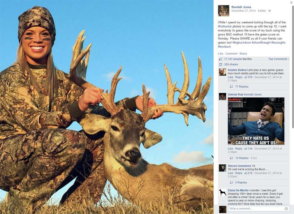 Kendall Jones, a Texas Tech University cheerleader with a history of attracting online scorn for her myriad hunting escapades, is once again drawing online ire from critics over her