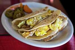 Breakfast tacos at Los Dos Amigos.