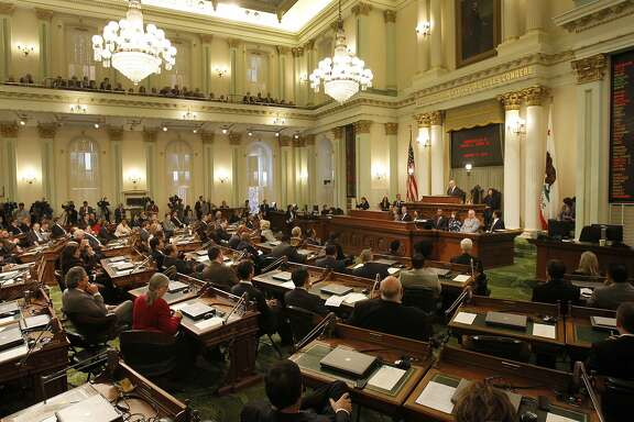 Members of the state assembly and senate listened to the inaugural address Monday January 5, 2015. Jerry Brown took the oath of office as the Governor of California before members of the state legislature, family and friends at the State Capitol in Sacramento, Calif.