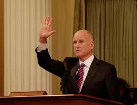 Gov. Jerry Brown set a new goal of deriving   50 percent of power from renewable sources.
