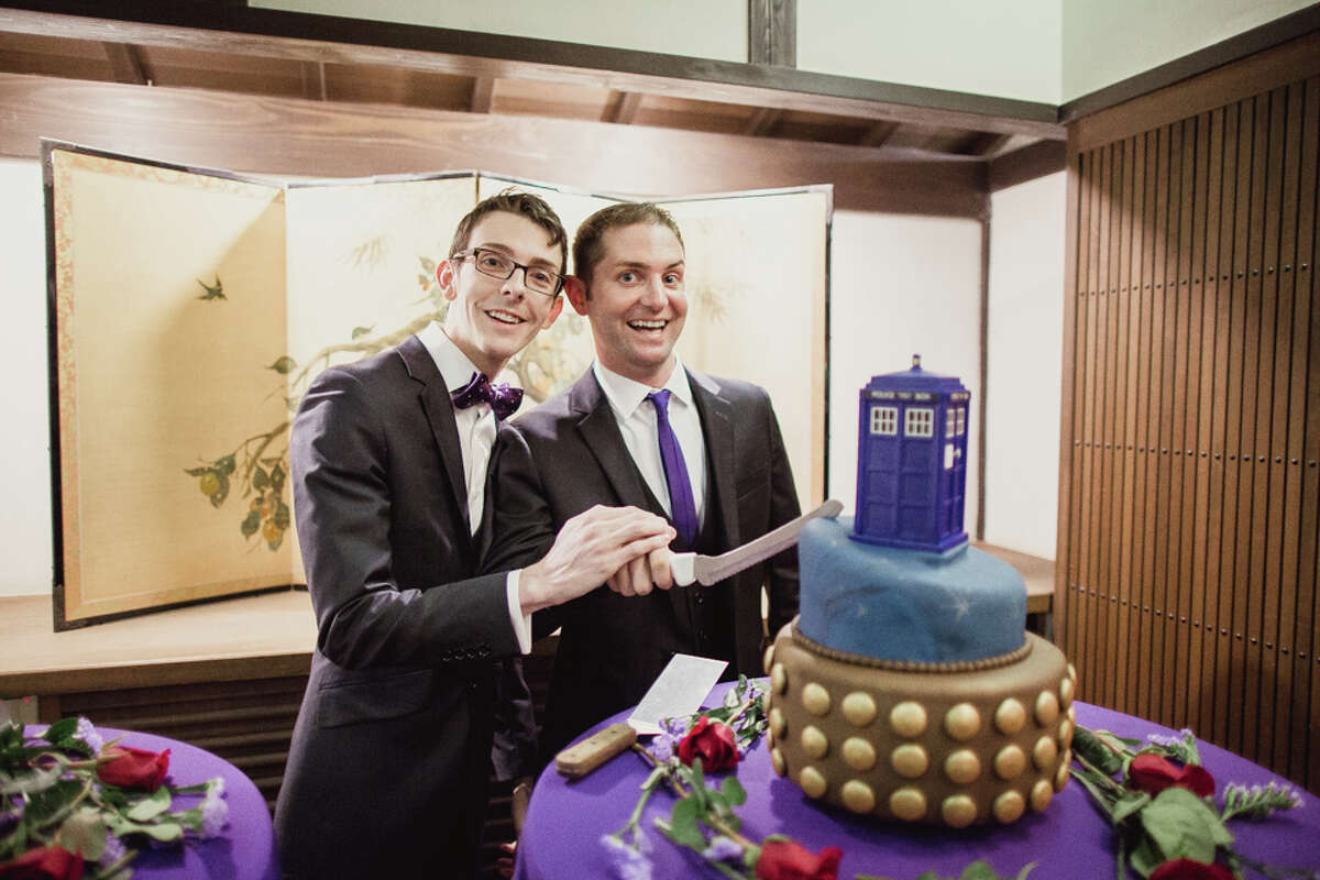 TJ and Timmy Mundell-Patterson's wedding in Hakone Japanese Gardens in Saratoga, Calif. in Nov. 2014.