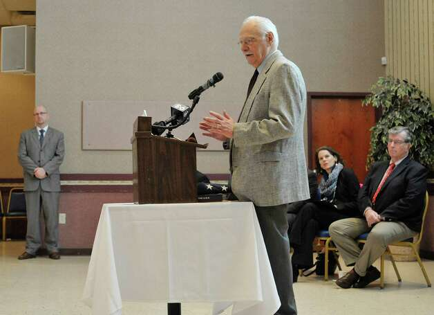 Richard Persico talks about his brother Joseph at an event to honor veteran Joseph Persico, at the American Legion Joseph E. Zaloga Post 1520 on Monday, Jan. 5, 2015, in Albany, N.Y.  Persico was this month's Albany County Honor-a-Vet recipient.  Persico served in the US Navy. (Paul Buckowski / Times Union) Photo: Paul Buckowski / 00030066A