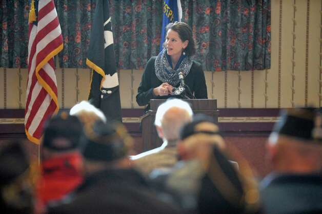 Assembly Member Patricia Fahy addresses those gathered at an event to honor veteran Joseph Persico, at the American Legion Joseph E. Zaloga Post 1520 on Monday, Jan. 5, 2015, in Albany, N.Y.  Persico was this month's Albany County Honor-a-Vet recipient.  (Paul Buckowski / Times Union) Photo: Paul Buckowski / 00030066A