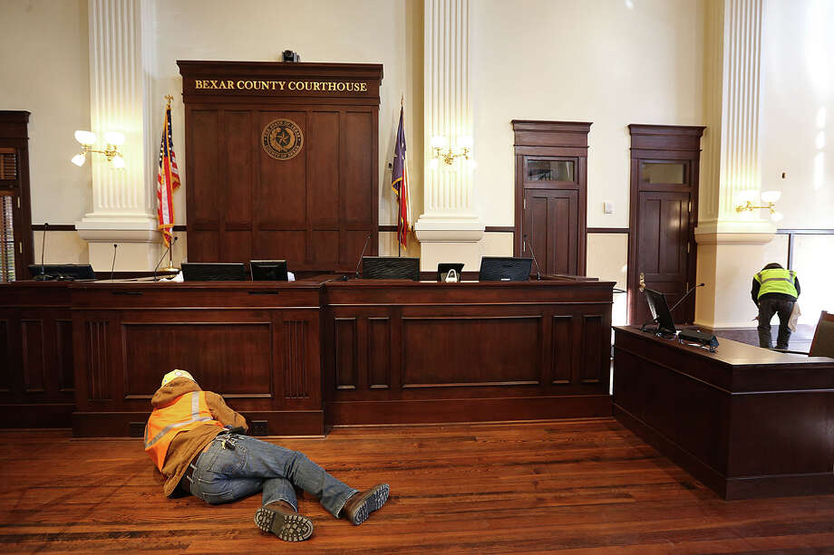 """The double-height courtroom of the Bexar County Courthouse is being renovated to its 1890's look and is nearly completed. A reader expresses outrage that the county would spend money on restoring the """"splendor"""" of this facility rather than use it for important social issues. Photo: JERRY LARA /San Antonio Express-News / © 2015 San Antonio Express-News"""