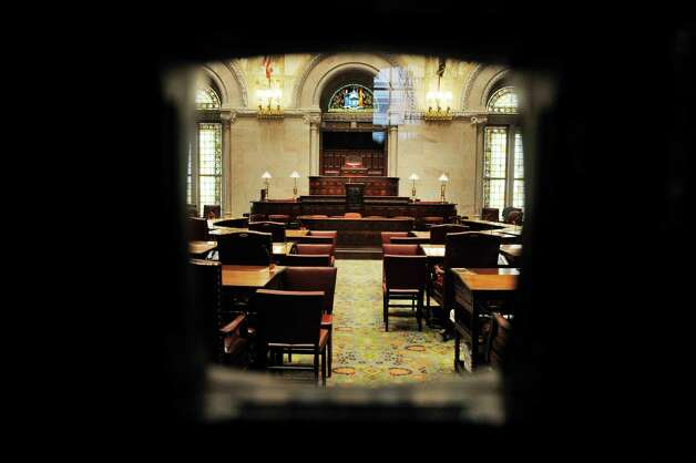 A view through the back doors of the State Senate at the Capitol on Monday, Jan. 5, 2015, in Albany, N.Y.  (Paul Buckowski / Times Union) Photo: Paul Buckowski / 00030082A