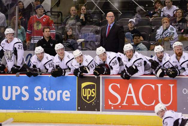 San Antonio Rampage head coach Tom Rowe watches play from the bench during the third period of an AHL hockey game against the Rockford IceHogs, Friday, Oct. 31, 2014, in San Antonio. Rockford won 6-3. (Darren Abate/AHL) Photo: Darren Abate / Darren Abate/DA Media, LLC
